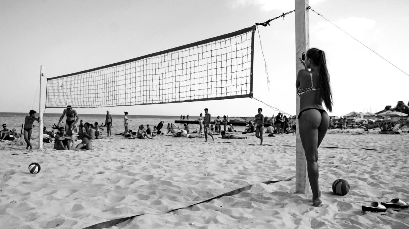 лето, волейбол, девушка, пляж, люди, черно-белый, песок