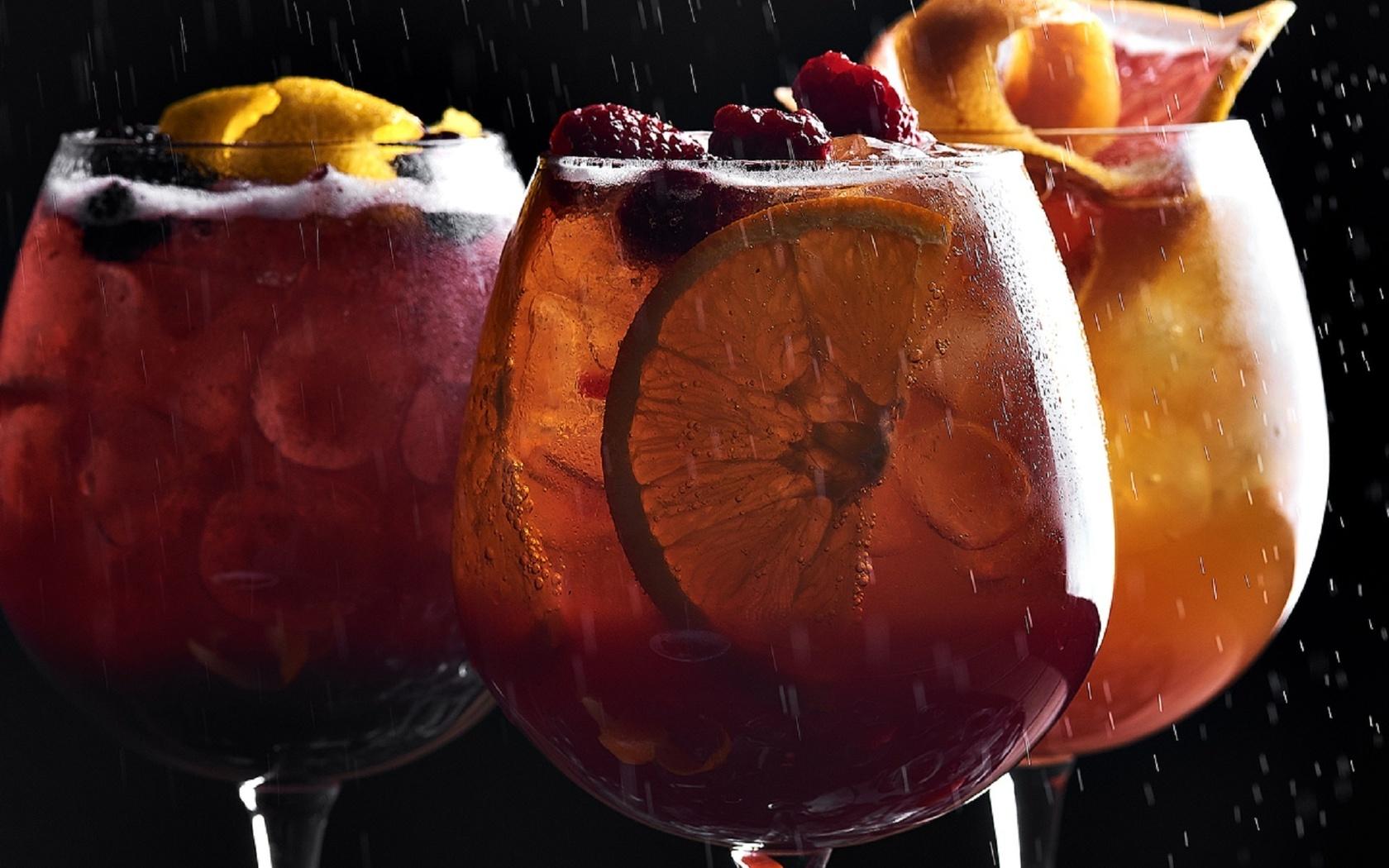 бокалы, коктейль, фрукты, вкусно