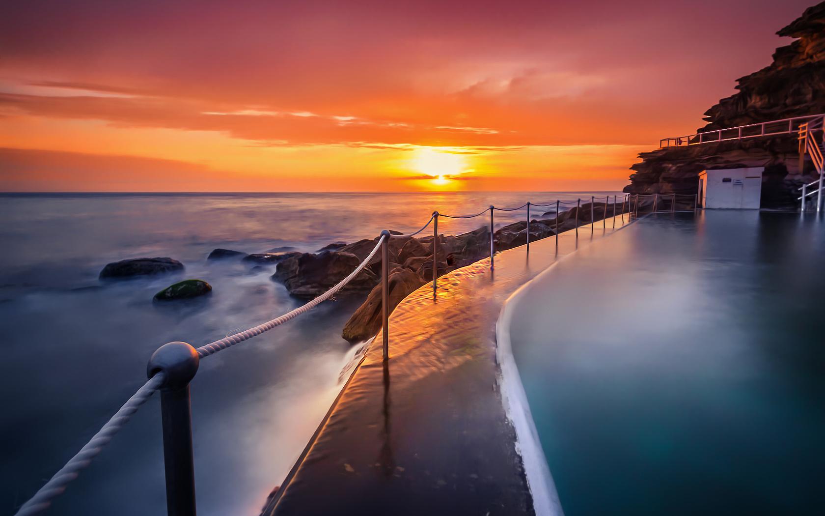 восход, бассейн, морской пейзаж, океан, небо, bronte, derek zhang