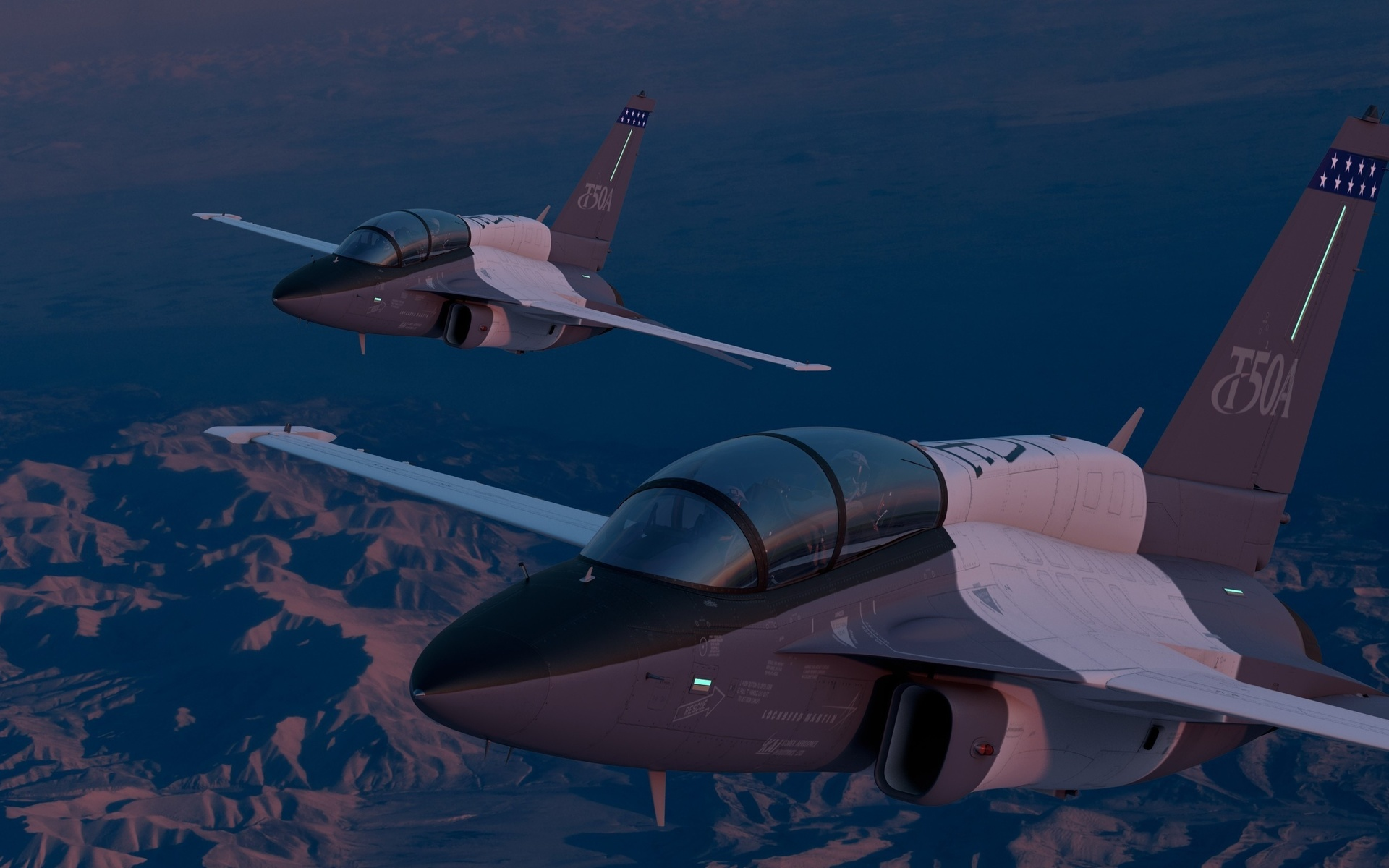 авиация, боевые самолёты, lockheed, martin, пилоты, кабина, полёт, t-50a, ландшафт, учебно-боевой, вечер, самолёт