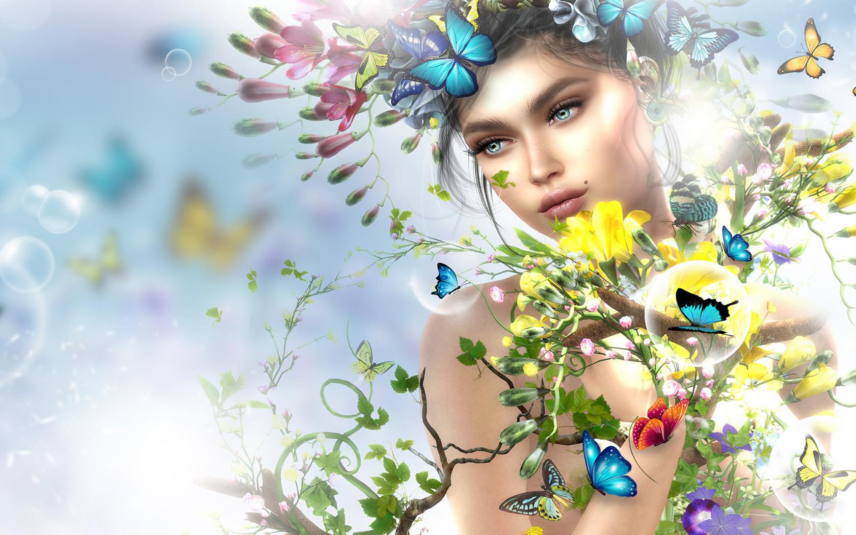 Картинки девушки цветы бабочки, христа спасителя