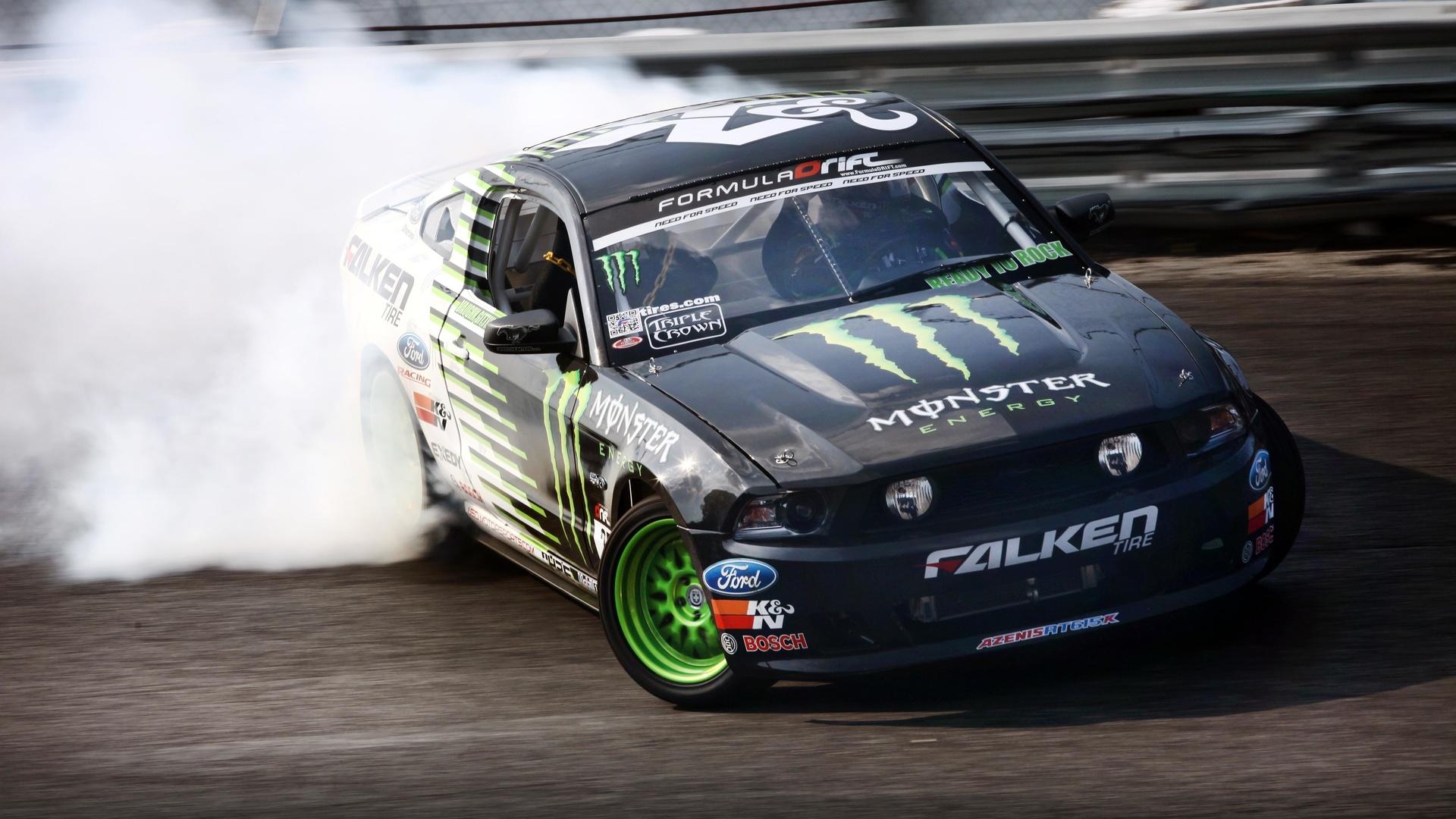 занос, ford, ford mustang, monster energy, drift
