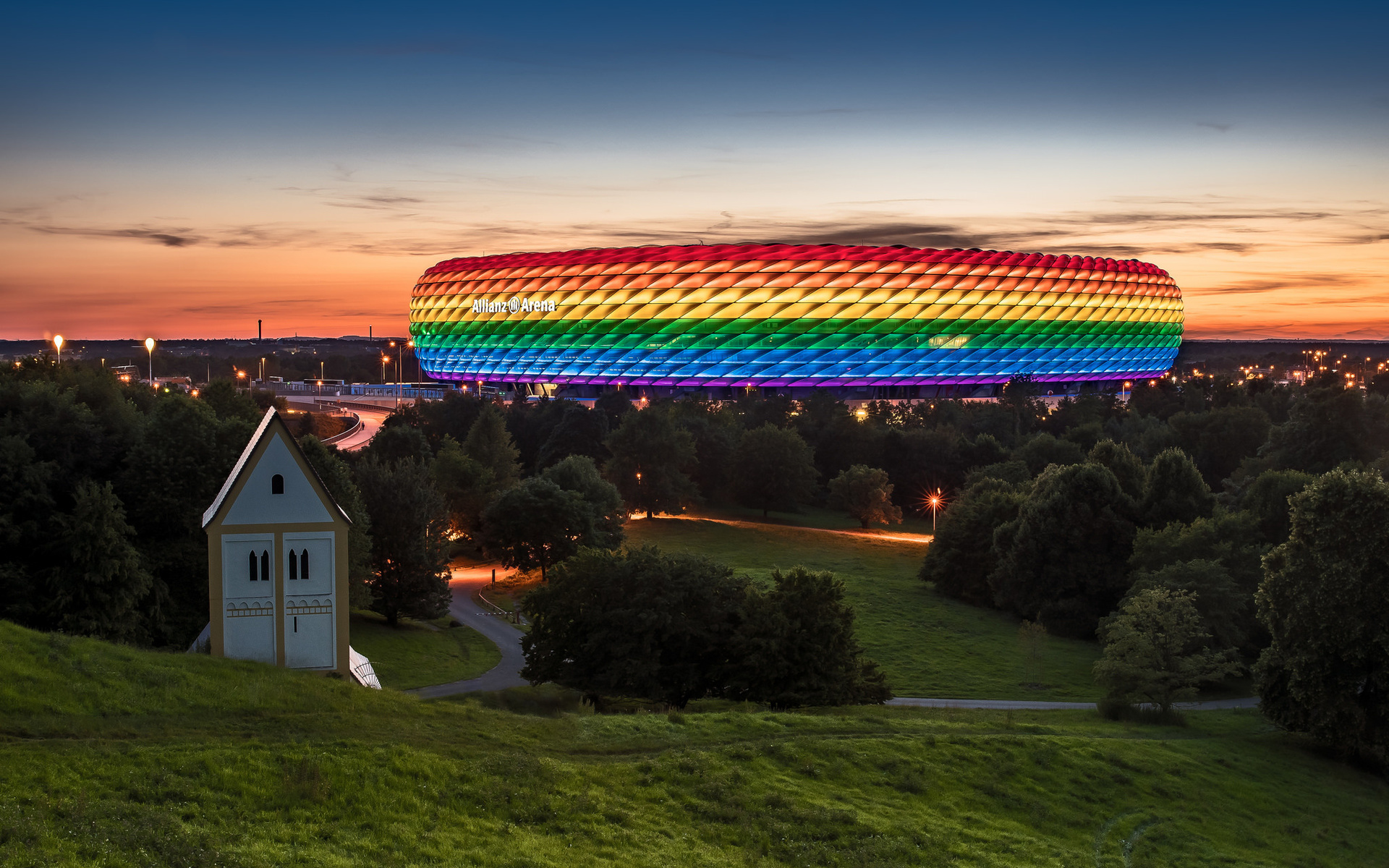 фото, город, мюнхен, германия, стадион, allianz arena, альянс арена