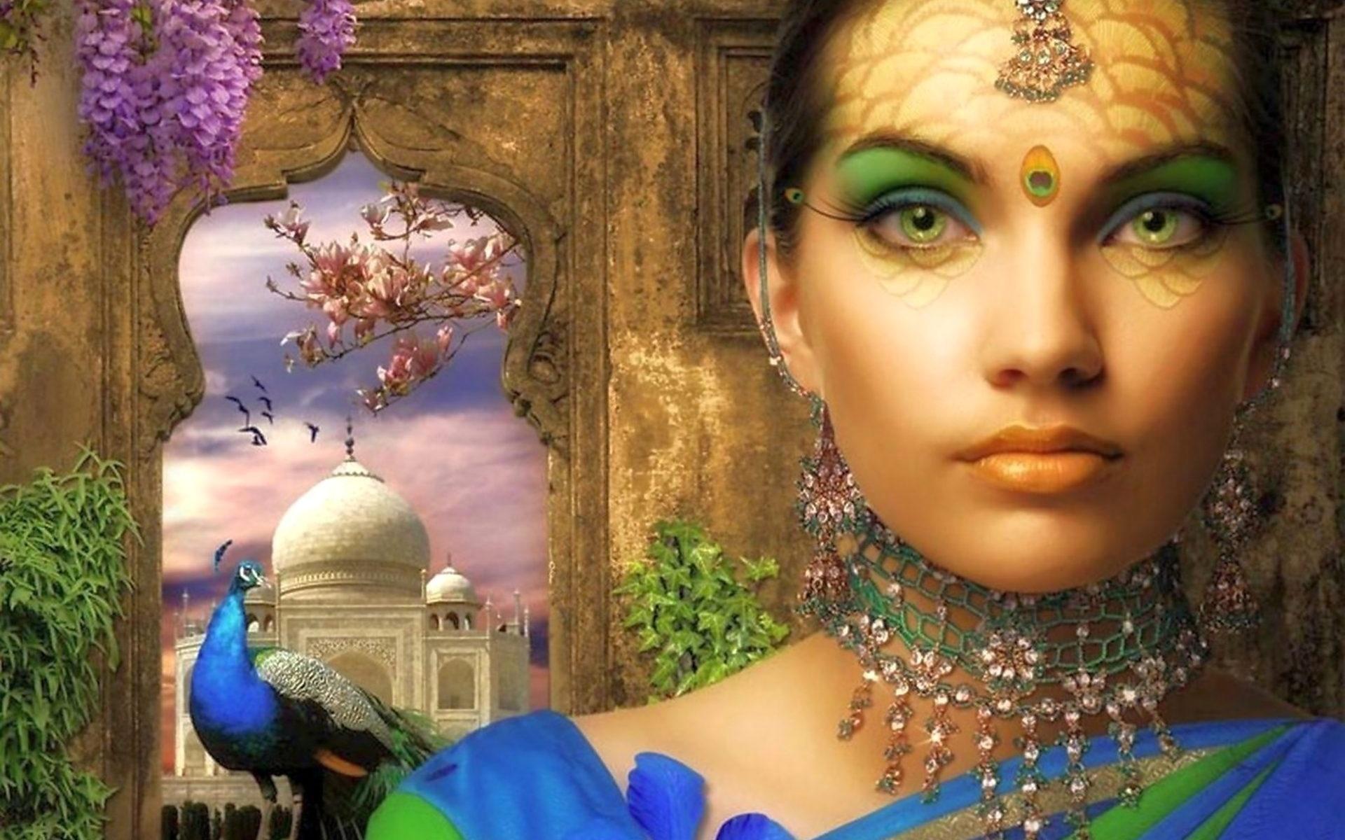 девушка, украшения, павлин, окно, тадж-махал, цветы, индия