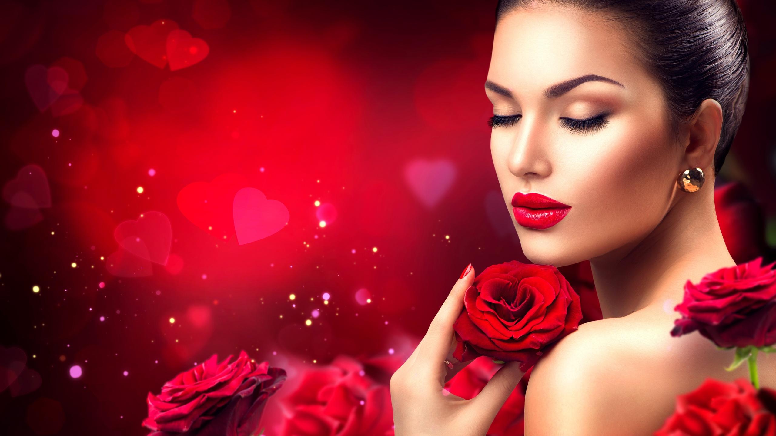 Открытка девушка с розой, фото котэ
