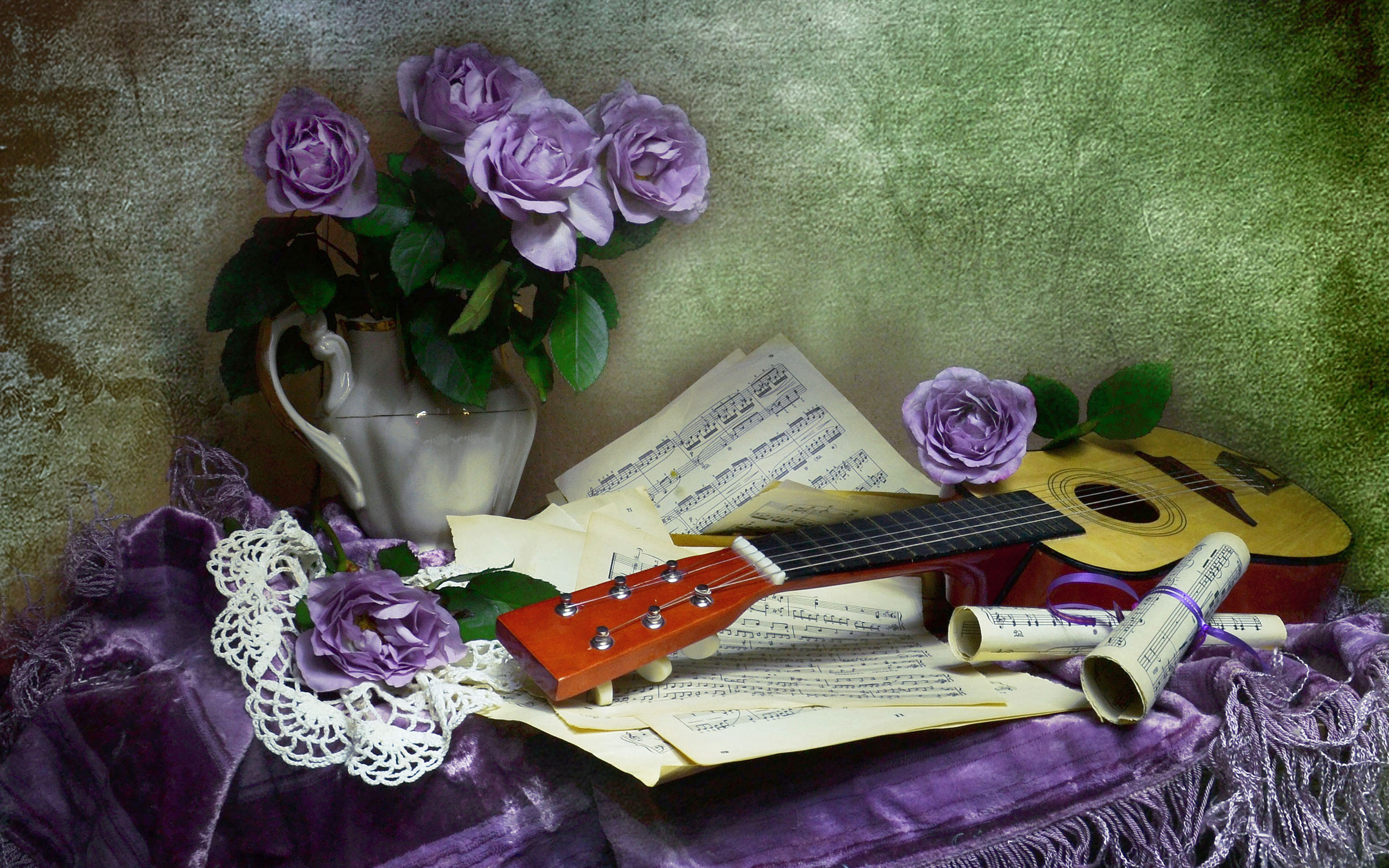 Нового года, открытки с цветами и гитарой