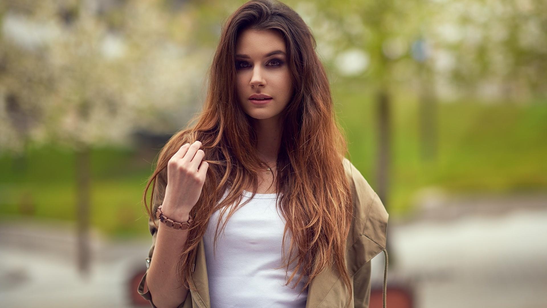 девушка, брюнетка, модель, взгляд, ariel grabowski, длинные волосы , портрет, sandra