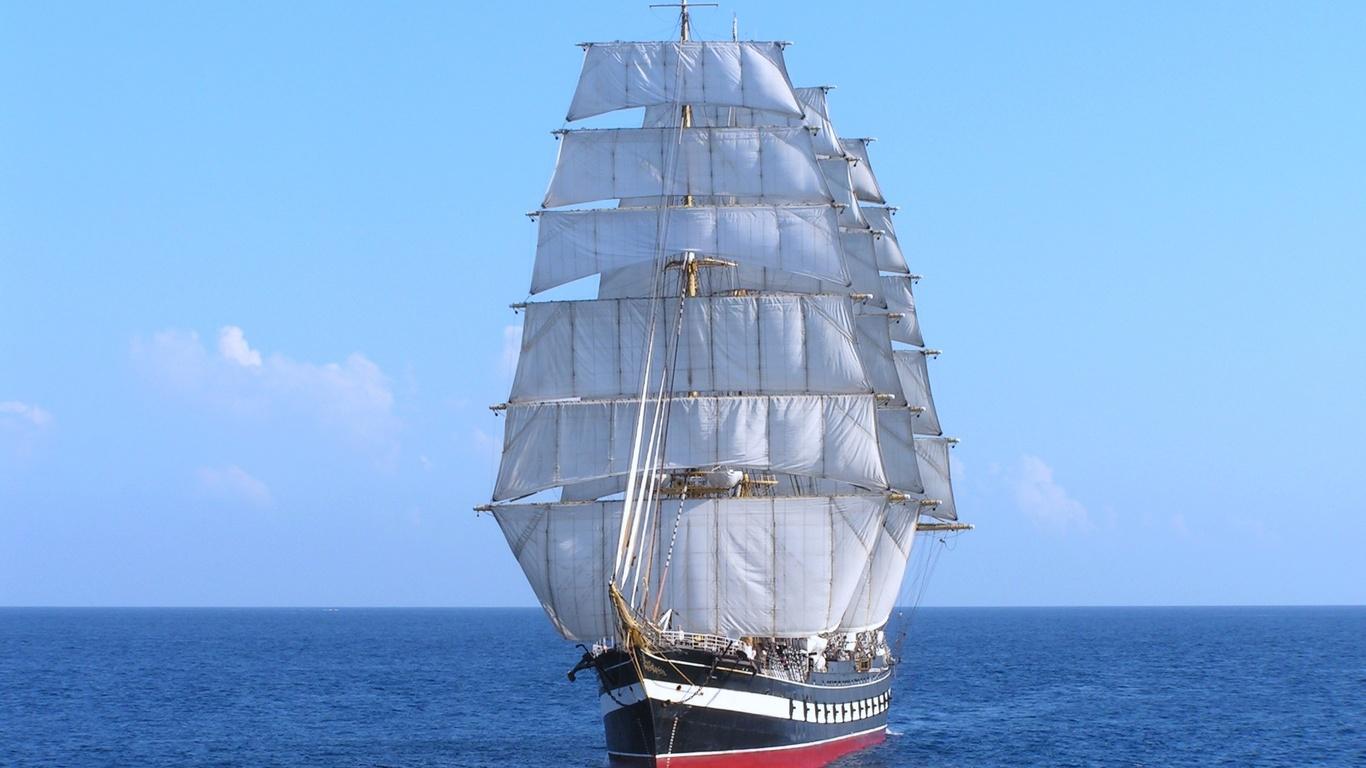 парусный, корабль, барк, море, на ходу