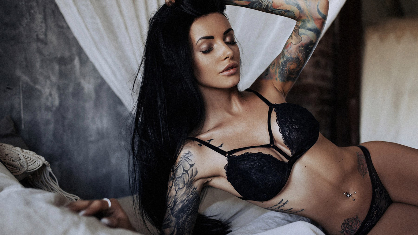 women, tanned, tattoo, black lingerie, in bed, belly, pierced navel, closed eyes, black hair, any sakharova