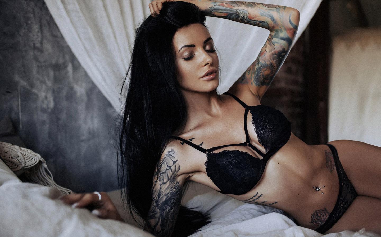women, tanned, tattoo, black lingerie, in bed, belly, pierced navel, closed eyes, black hair, any sakharova
