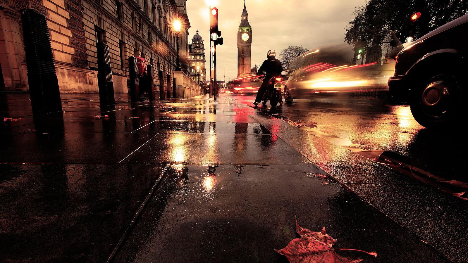 авто, лист, улица, лондон, выдержка, мотоцикл, биг-бен