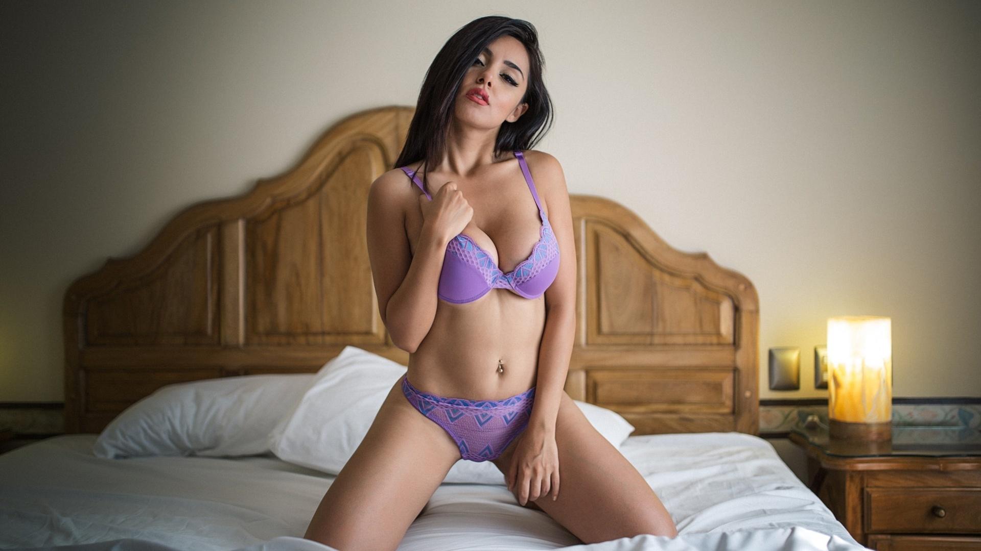Petite brunette on bed girls