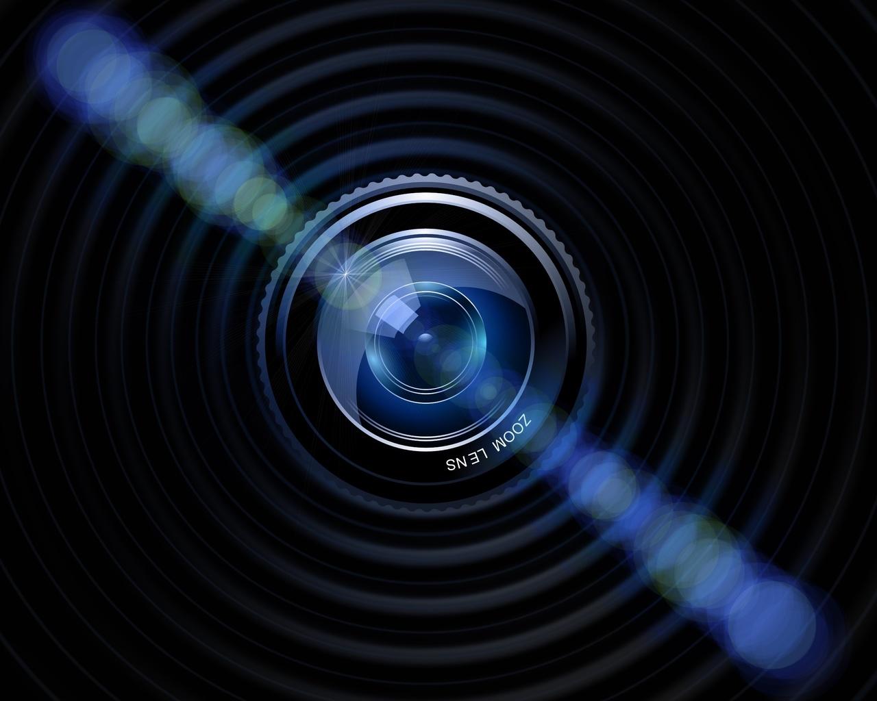 камера, объектив, синий, черный, темно, фотография, блики