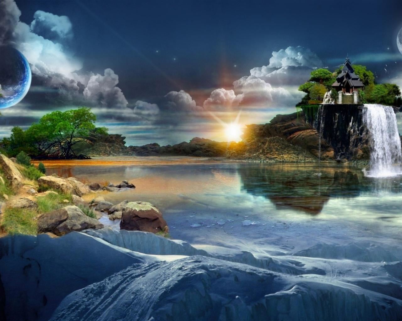 вода, горы, небо, фантазийный, мир