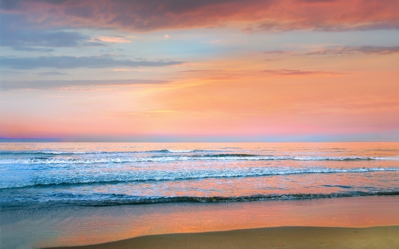 океан, пляж, небо, заря