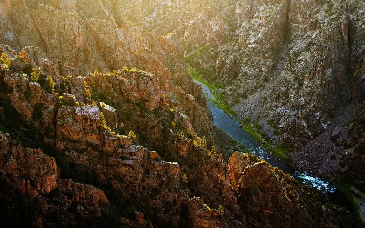 каньон, природа, солнце, лучи, река