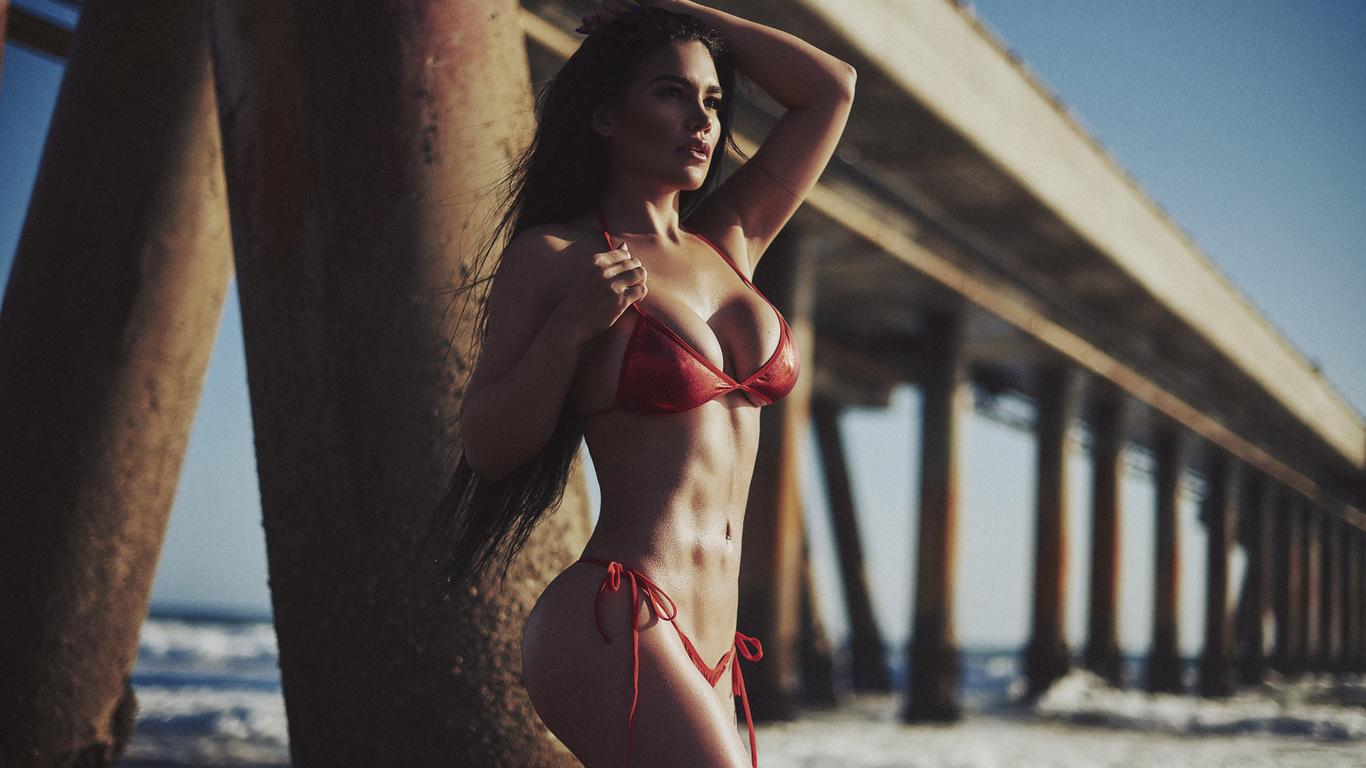 women, alys anzola, paul egas scarino, tanned, belly, red bikini, ass, sea, depth of field, long hair