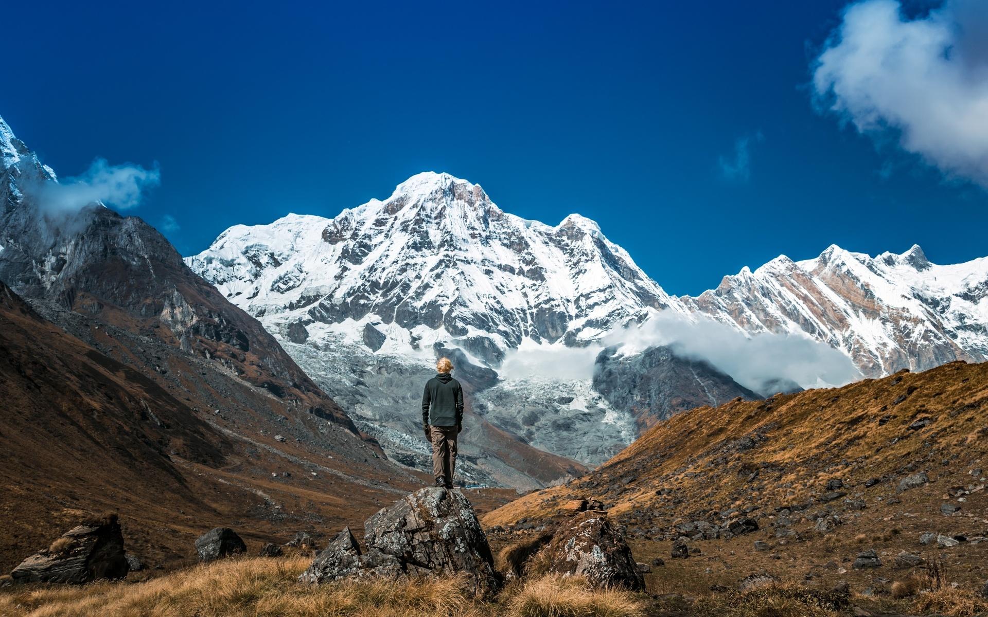 природа, снег, горы, человек