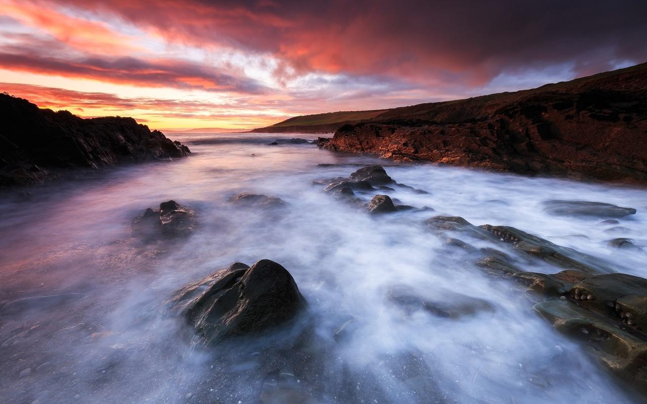 море, небо, пена, облака, закат, камни, скалы, берег