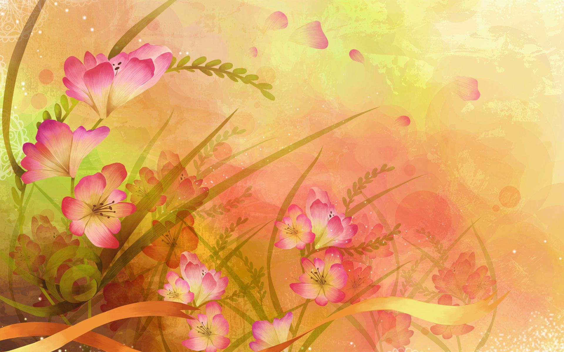 Веера японского, открытка слайд цветы