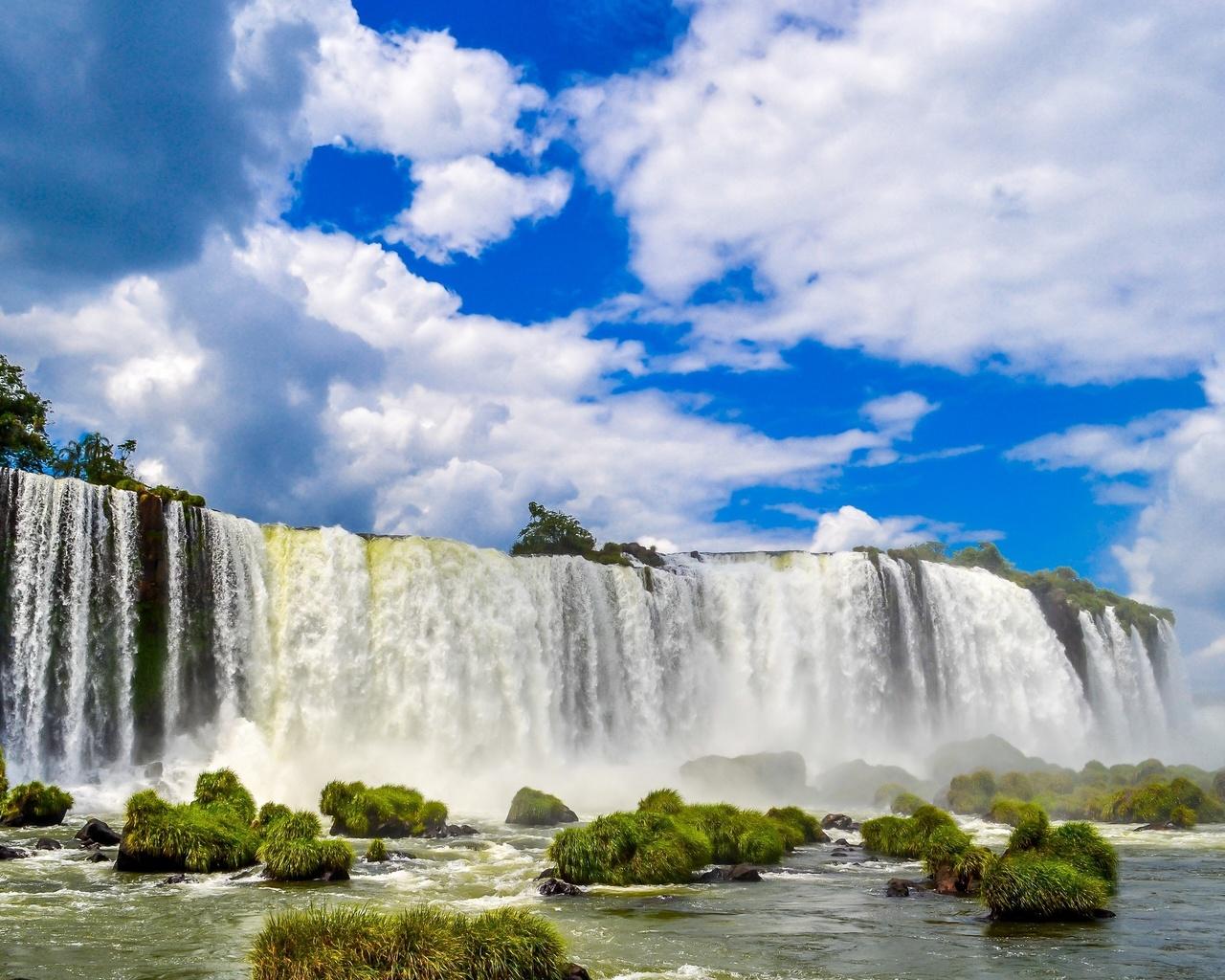 iguazu falls, brazil, водопады, игуасу, бразилия, панорама