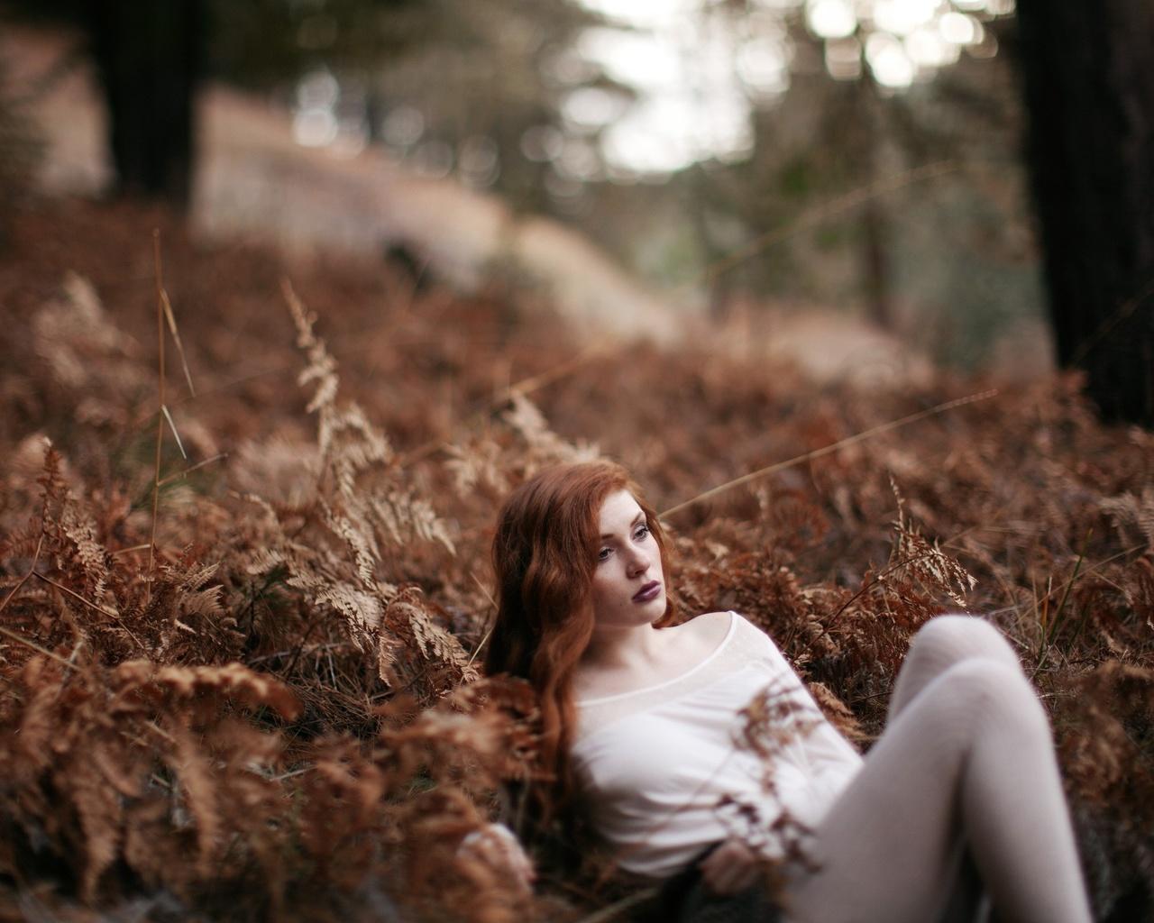 девушка, лес, задумалась, отдых