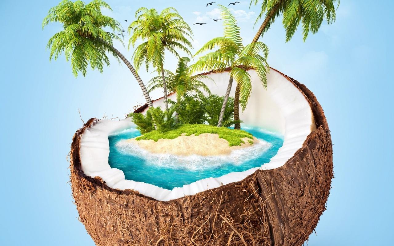кокос, пальмы, остров, тропический, арт, искусство