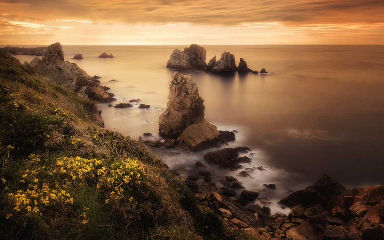 природа, пейзаж, океан, берег, скалы, закат
