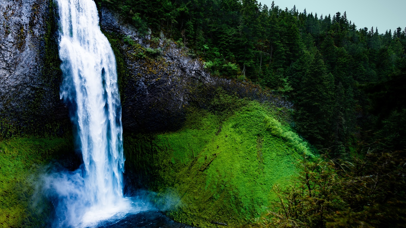 водопад, мох, скала