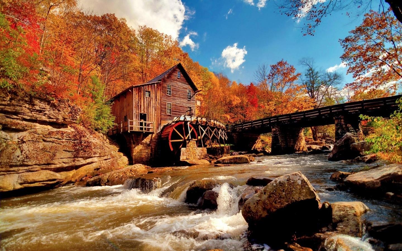 природа, осень, река, красиво