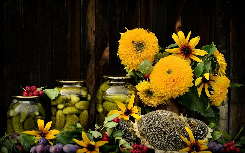 цветы, консервирование, осень, рудбекия, букет, подсолнечник, натюрморт, сливы, огурцы, композиция