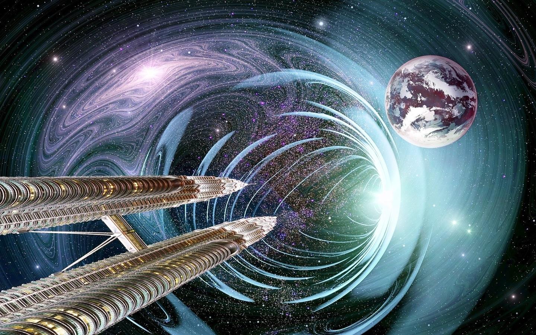 башни, небоскребы, планета, вселенная, universe, 3d, композиция