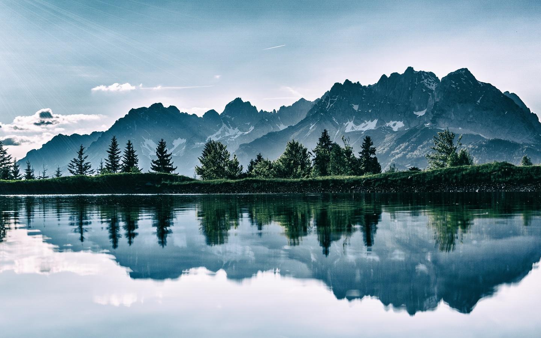 горы, озеро, фотошоп, отражение