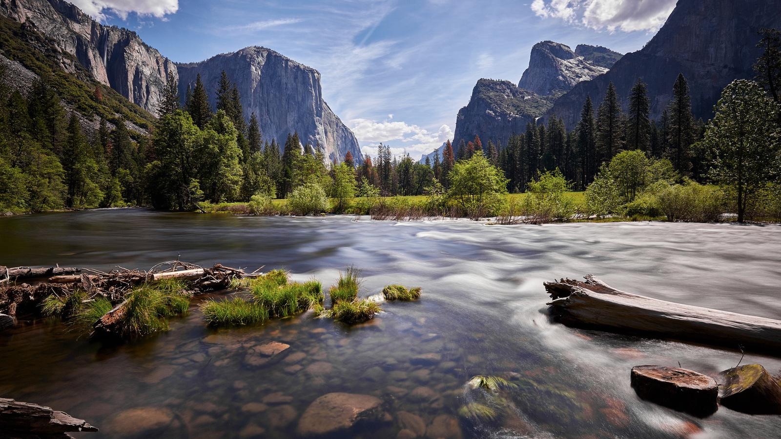 природа, пейзаж, сша, калифорния, yosemite, йосемити, национальный парк, горы, леса, река, камни