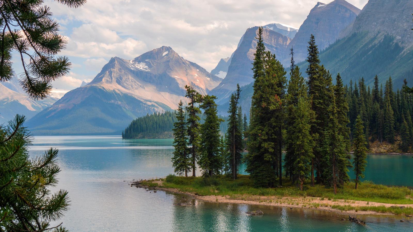 природа, пейзаж, национальный парк, jasper, джаспер, альберта, канада, горы, озеро, maligne, леса