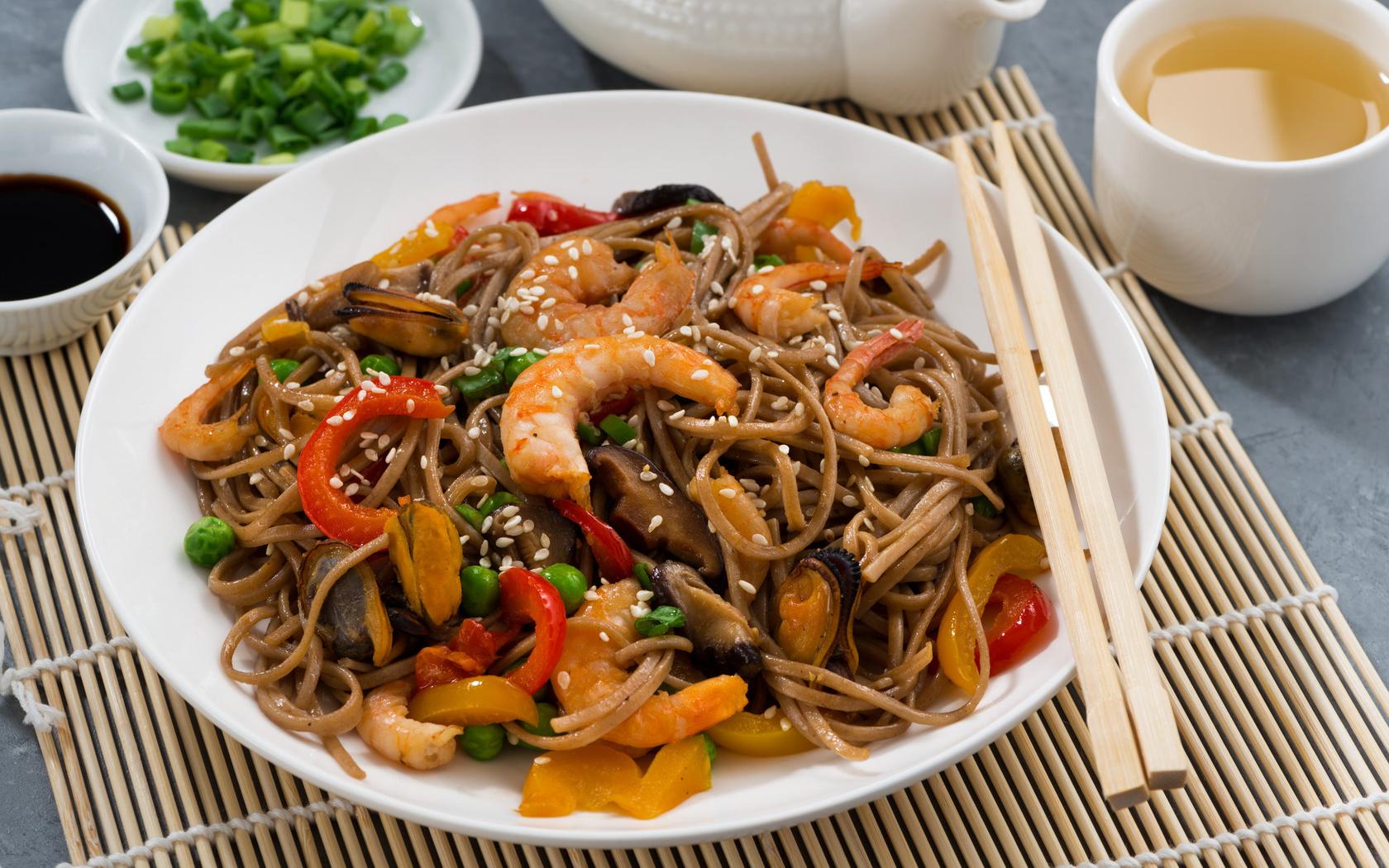 горох, перец, соус, креветки, морепродукты, мидии, паста