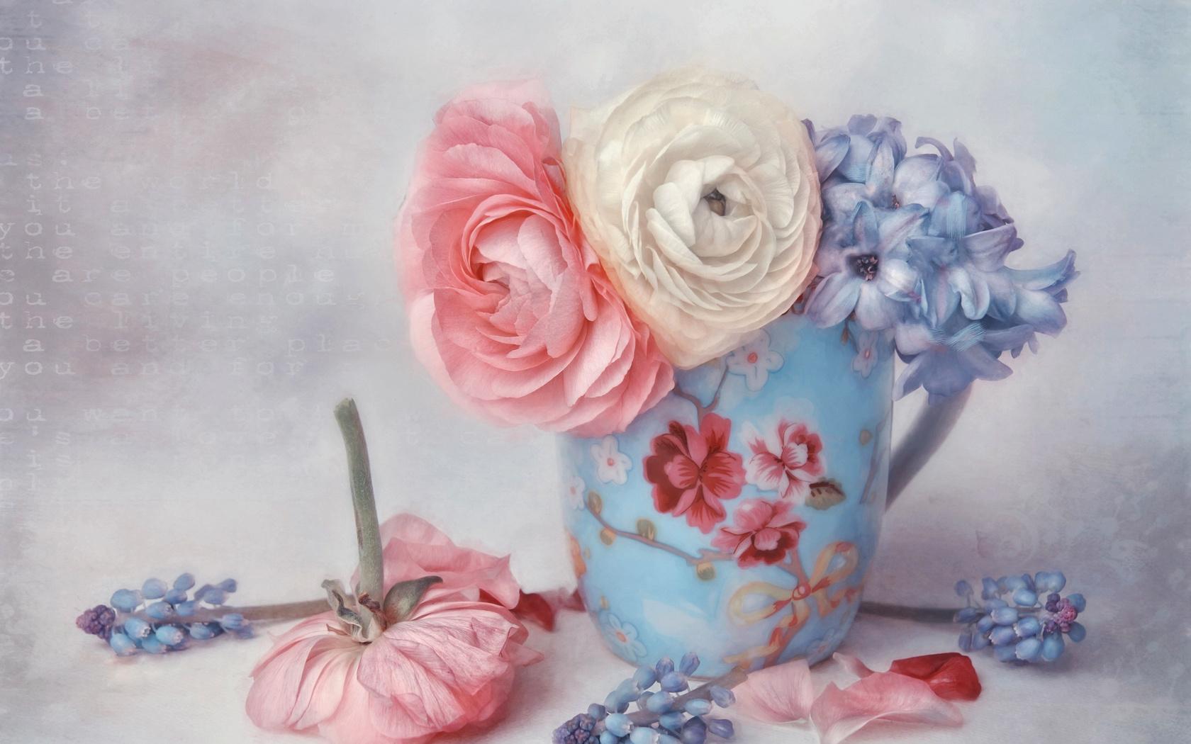 lizzy pe, кружка, цветы, лютики, гиацинты, арт, лепестки, digital art