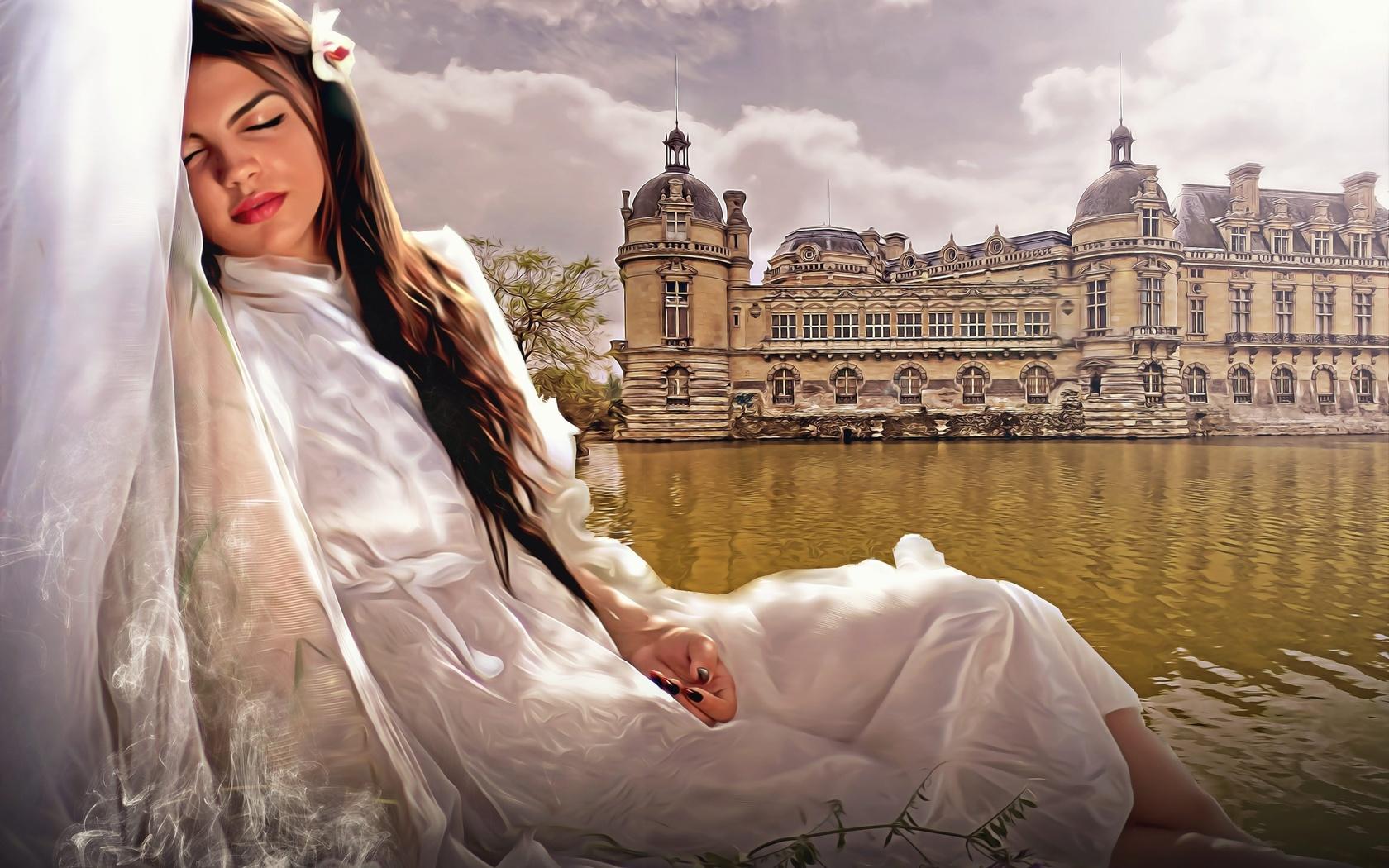 девушка, сон, вода, замок, композиция, 3d
