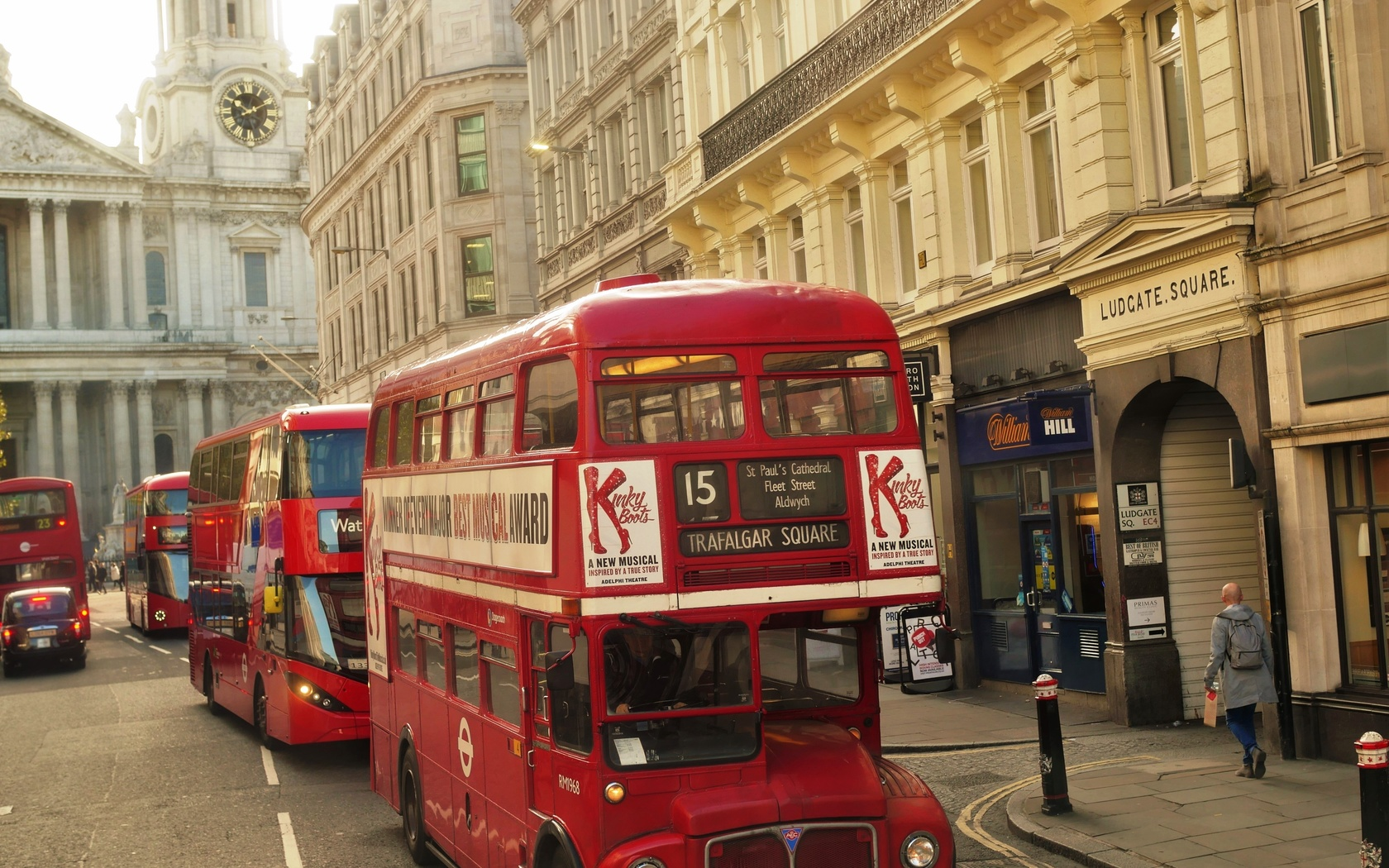 лондон, улица, автобусы, винтаж