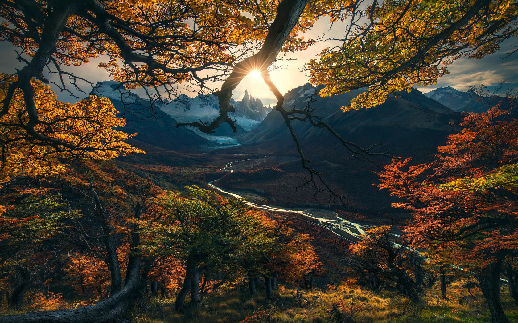 природа, осень, фото, max rive, аргентина, патагония, горы, долина, закат