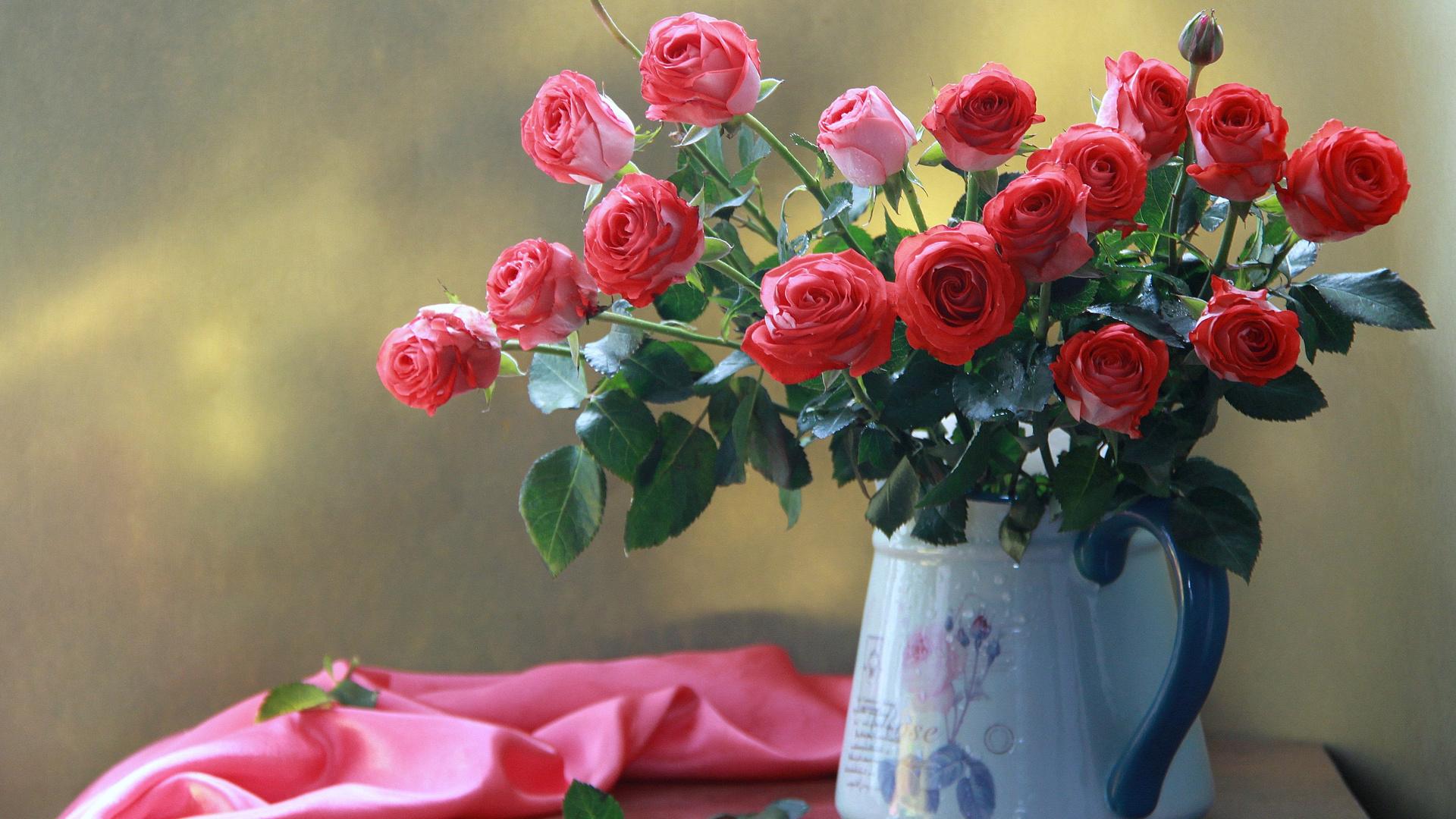 наталья кудрявцева, кувшин, цветы, розы, ткань, листья, бутоны