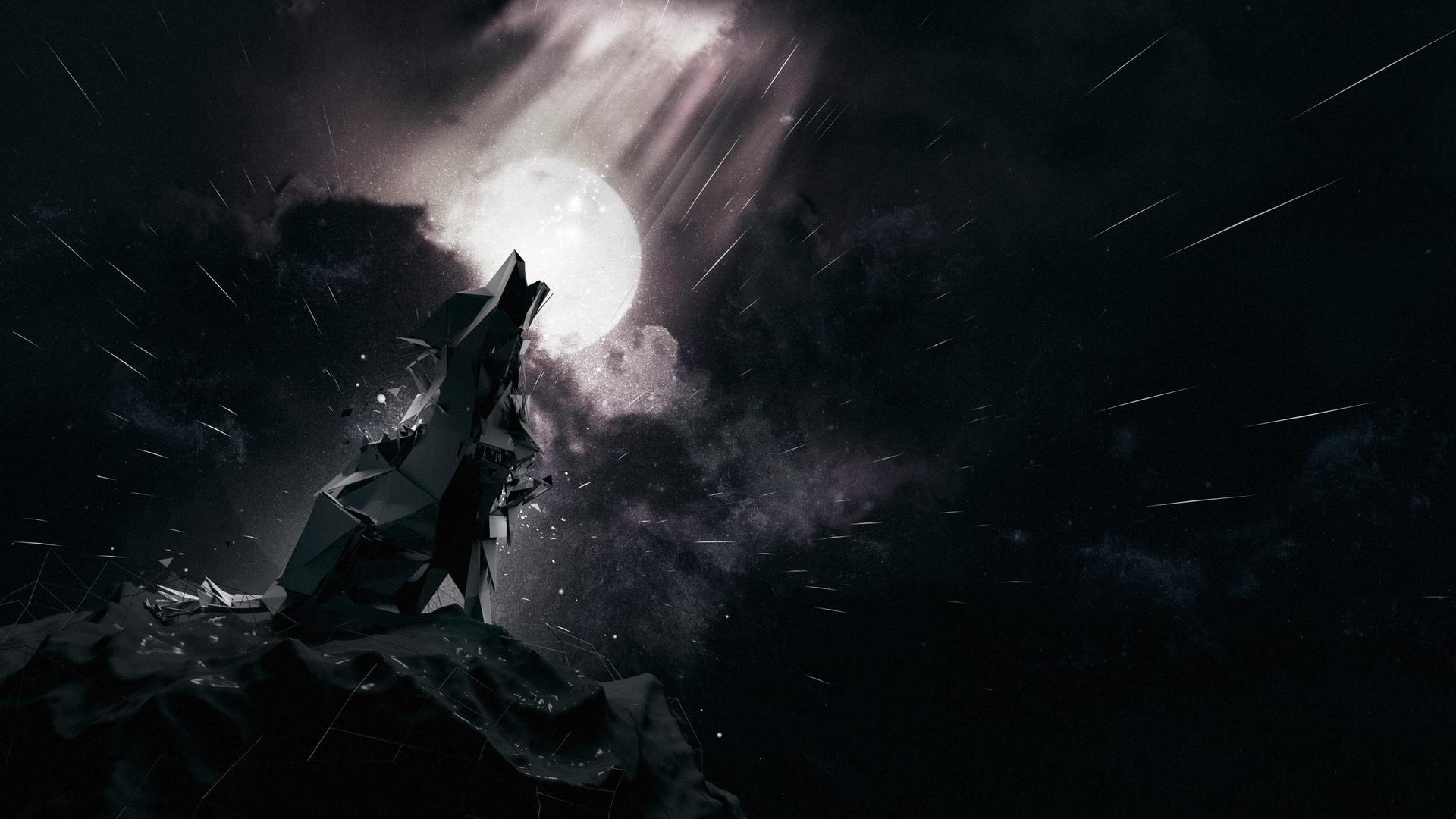 волк, луна, снег, ночь, текстуры