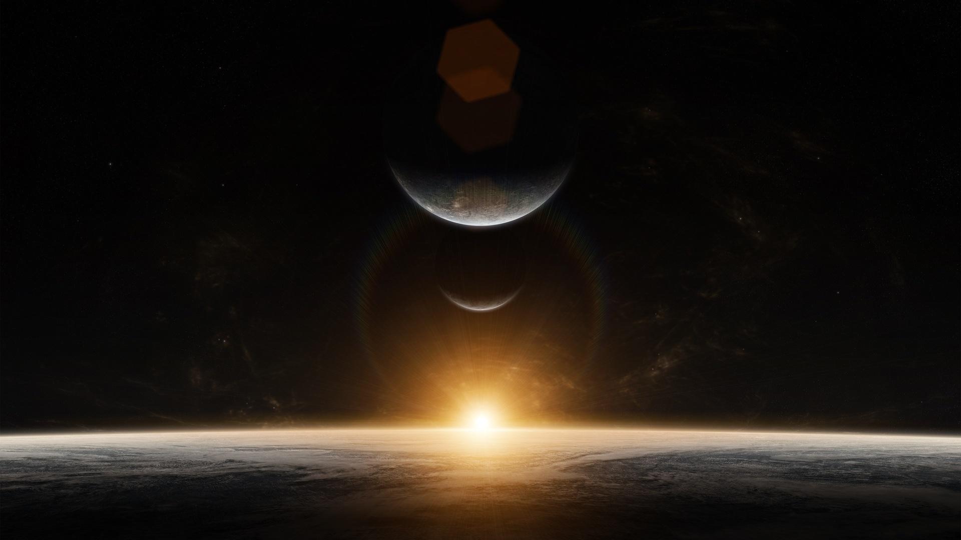 планеты, космос, блики, звёзды