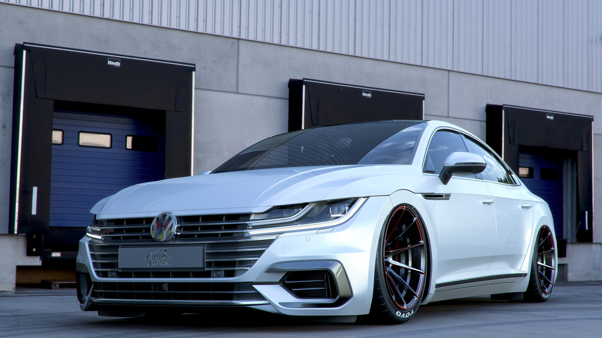volkswagen arteon, tuning, 2018 cars, stance, white arteon, german cars, volkswagen