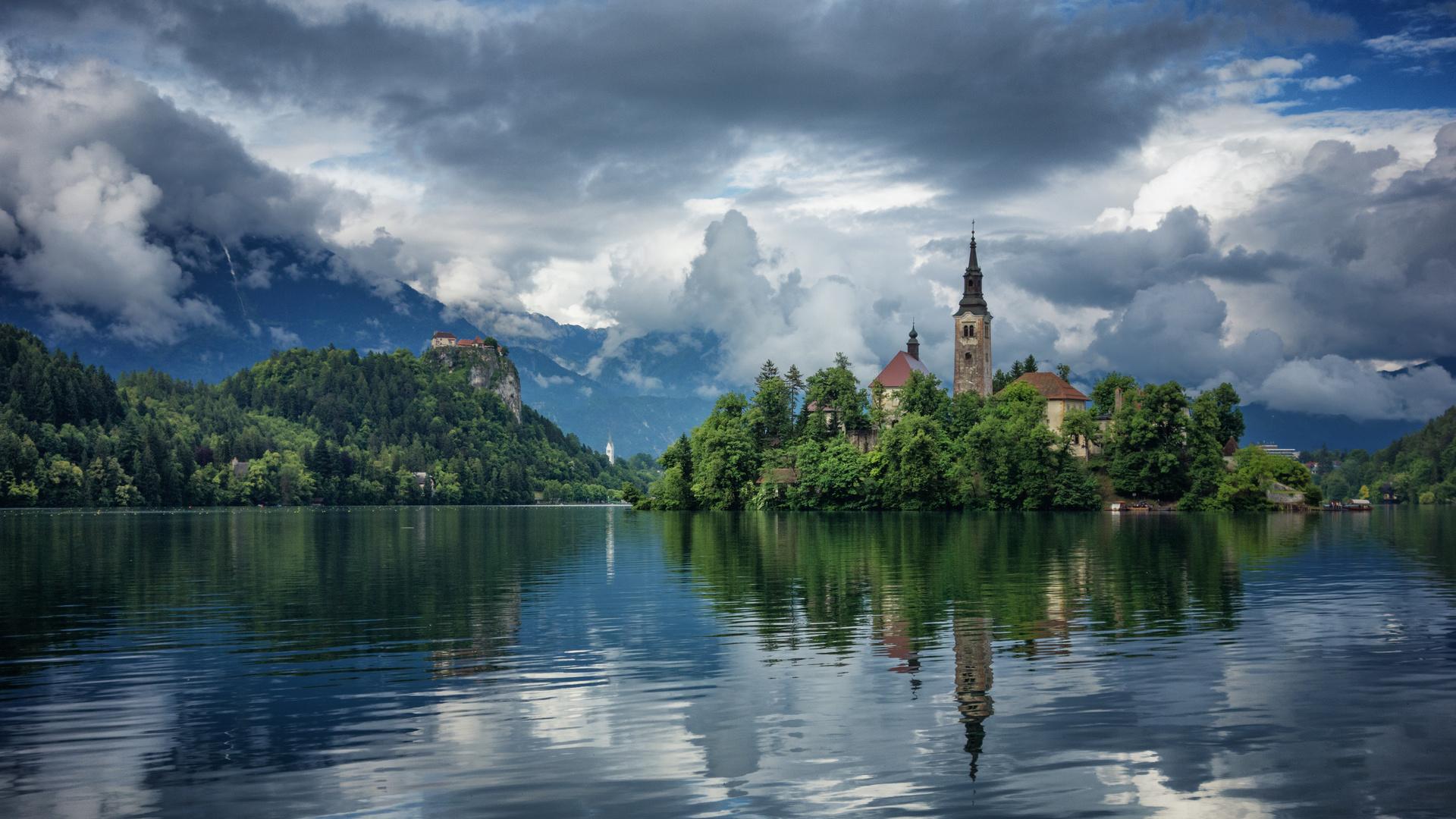 природа, пейзаж, словения, горы, озеро, блед, небо, облака, отражение