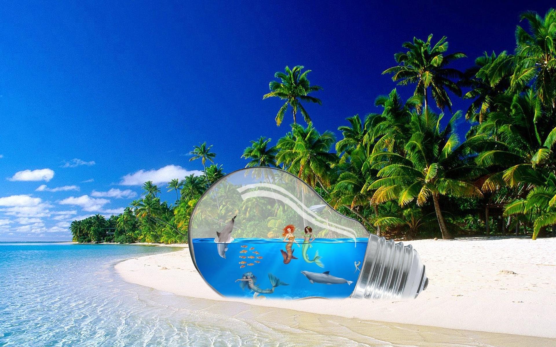 остров, пальмы, песок, тропики, лампочка, русалки, рыбы, дельфины, море