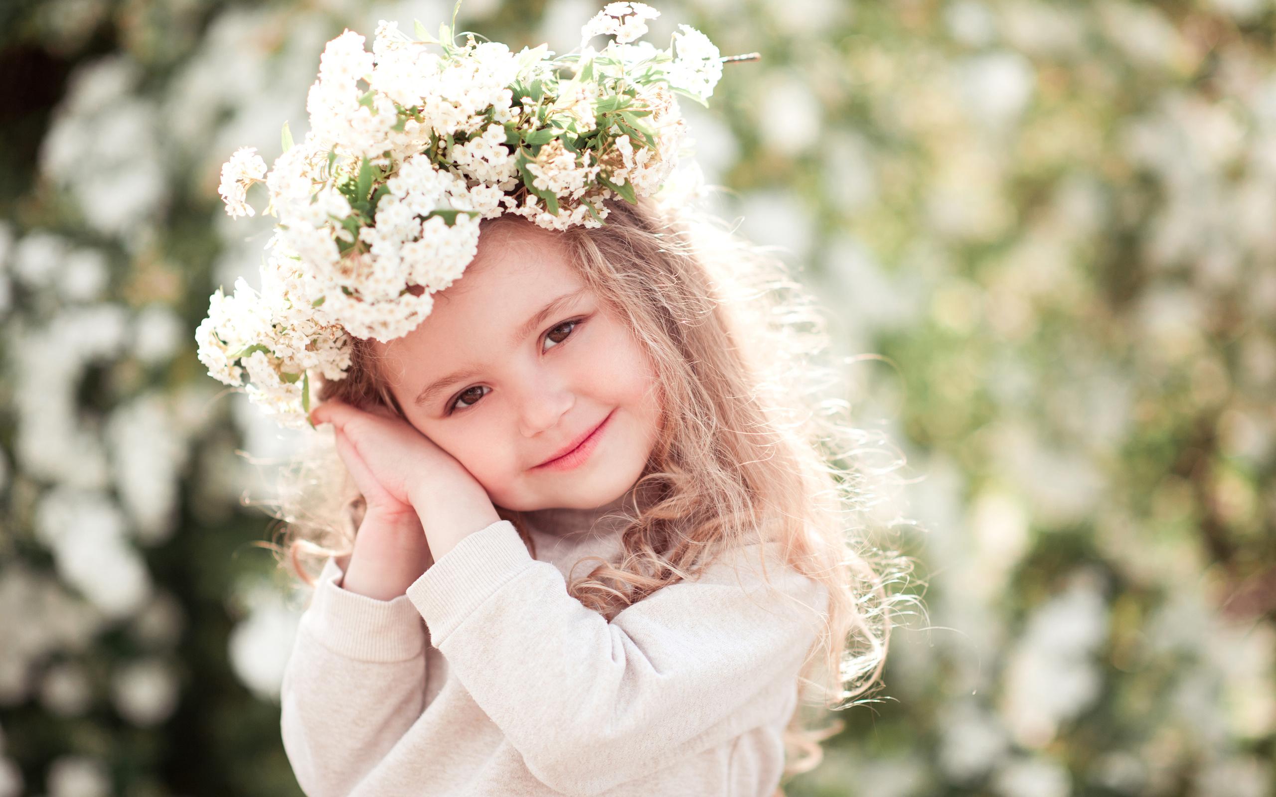 ребёнок, девочка, малышка, лето, венок, цветы