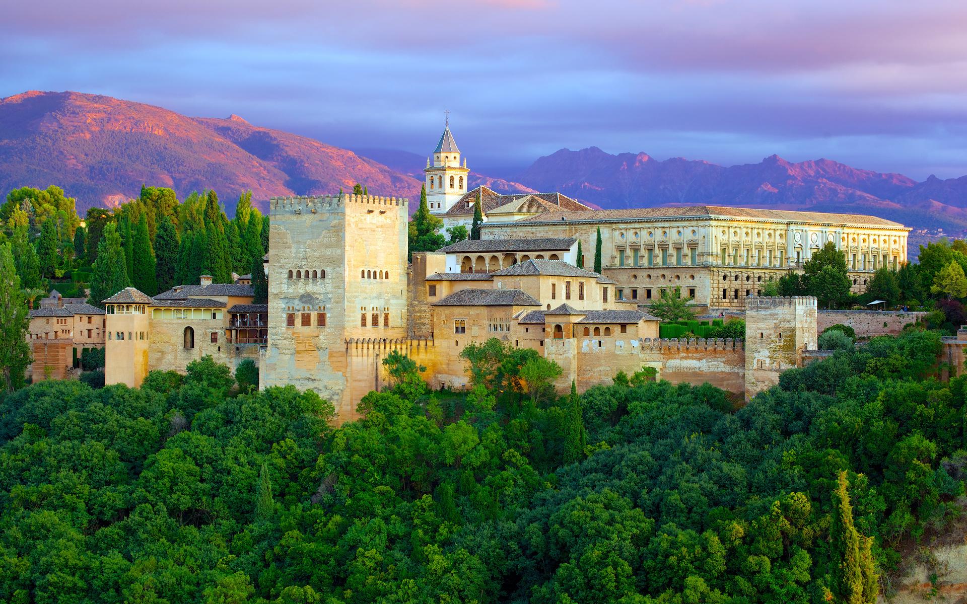 испания, замок, alhambra granada, деревья, город