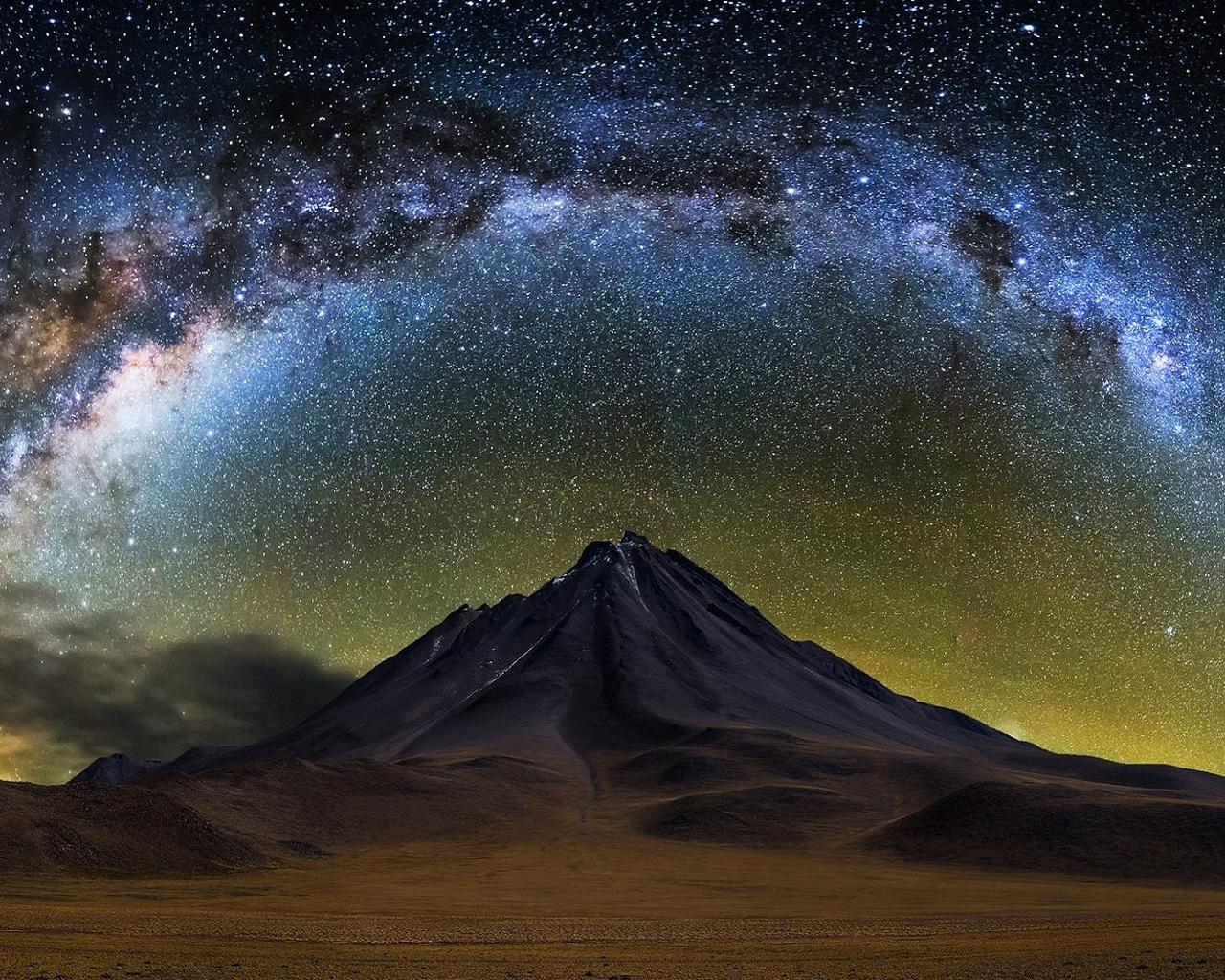 ночь, небо, горы, природа