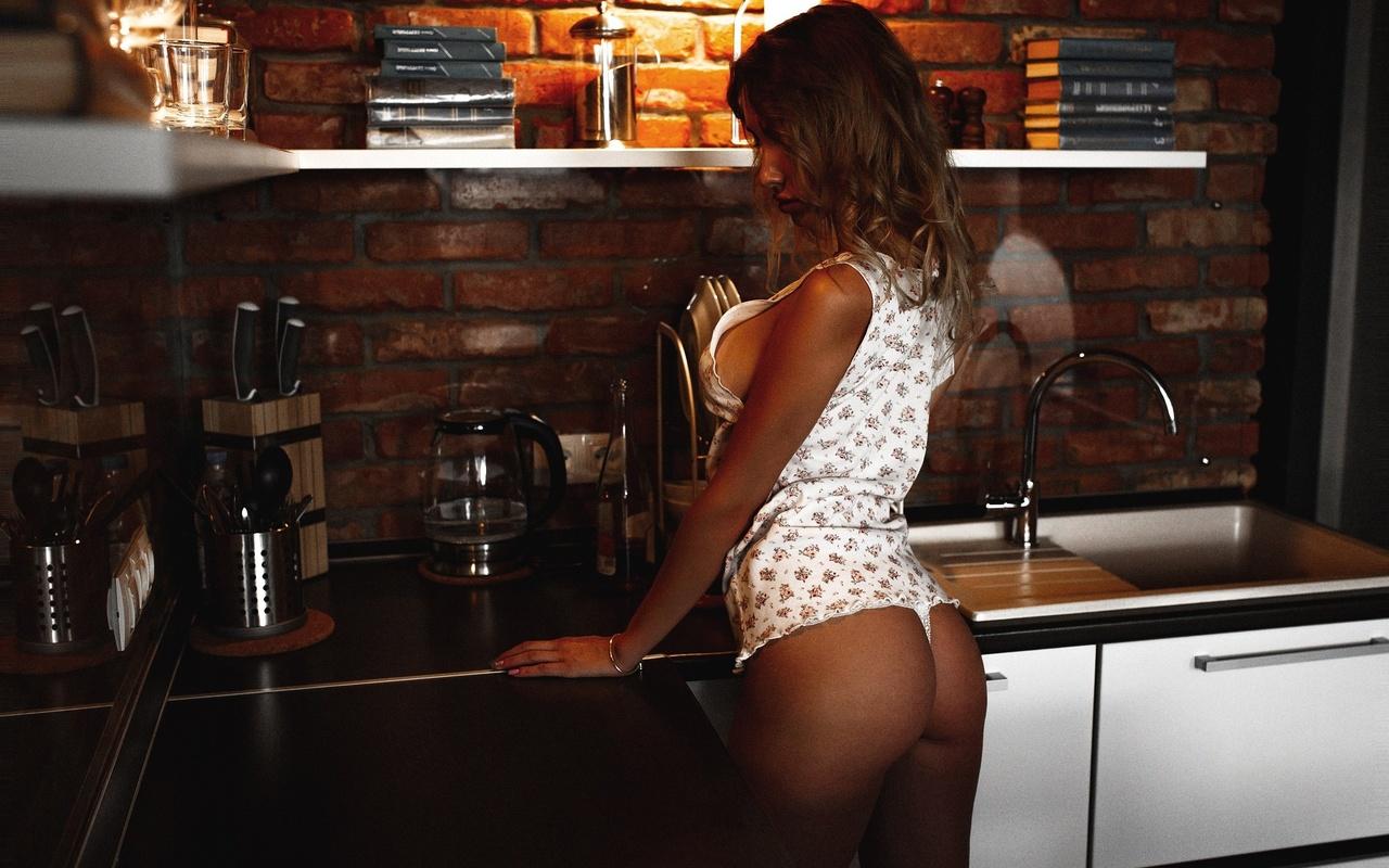 women, artem savinkov, ass, white panties, tanned, kitchen, back, sideboob